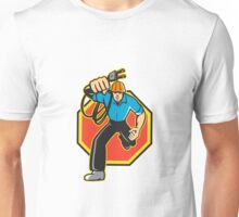 Electrician Worker Running Electrical Plug Unisex T-Shirt