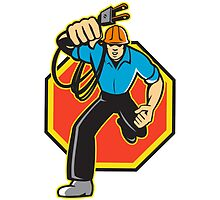 Electrician Worker Running Electrical Plug by patrimonio