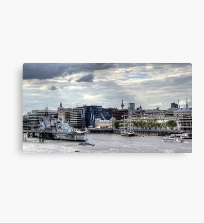 HMS Belfast  & French barque Belem  Canvas Print