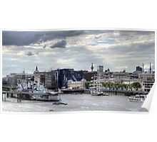 HMS Belfast  & French barque Belem  Poster