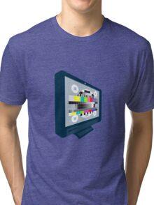 LCD Plasma TV Television Test Pattern Tri-blend T-Shirt
