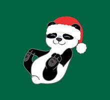 Christmas Panda Bear with Red Santa Hat Unisex T-Shirt