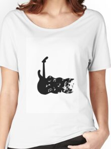 black and white guitar Women's Relaxed Fit T-Shirt