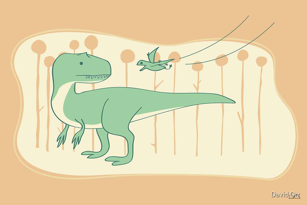 Allosaurus and Anurognathus by David Orr