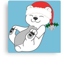 Christmas Polar Bear with Red Santa Hat, Holly & Silver Bell Canvas Print