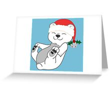 Christmas Polar Bear with Red Santa Hat, Holly & Silver Bell Greeting Card