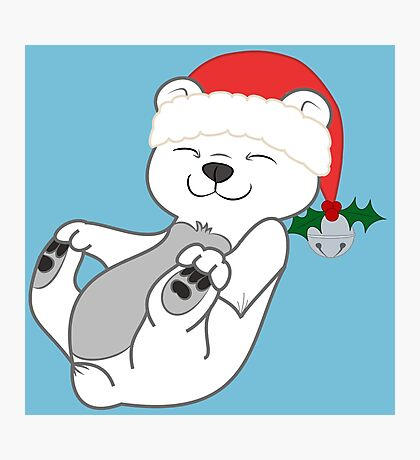 Christmas Polar Bear with Red Santa Hat, Holly & Silver Bell Photographic Print