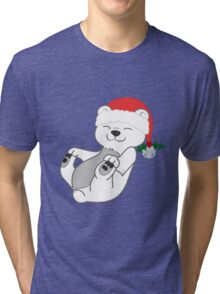 Christmas Polar Bear with Red Santa Hat, Holly & Silver Bell Tri-blend T-Shirt