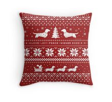 Dachshunds Christmas Sweater Pattern Throw Pillow