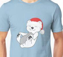 Christmas Polar Bear with Red Santa Hat Unisex T-Shirt