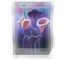 Birthday Wishes Greeting Card with Lilac Calla Lilies Poster