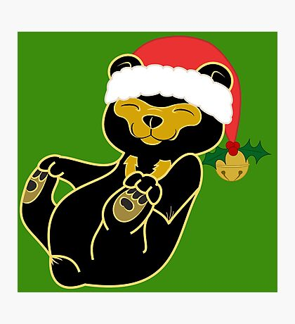 Christmas Sun Bear with Red Santa Hat, Holly & Gold Bell Photographic Print