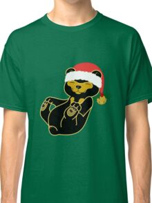 Christmas Sun Bear with Red Santa Hat, Holly & Gold Bell Classic T-Shirt