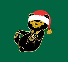 Christmas Sun Bear with Red Santa Hat, Holly & Gold Bell T-Shirt