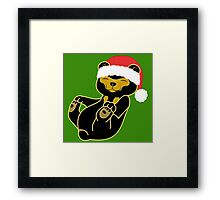 Christmas Sun Bear with Red Santa Hat Framed Print
