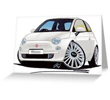 New Fiat 500 White Greeting Card