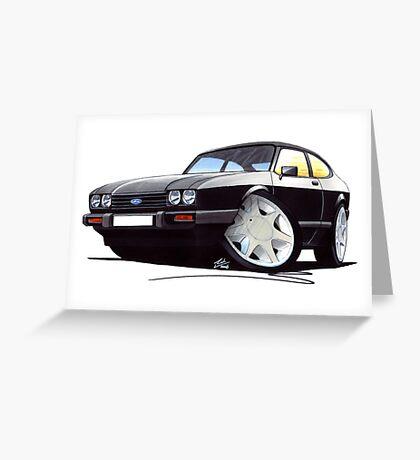 Ford Capri (Mk3) Black Greeting Card