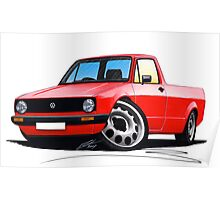 VW Caddy Red Poster