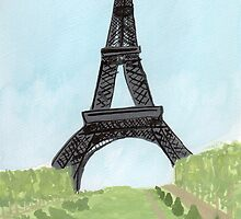 Eiffel Tower, Watercolor and India Ink by MaggieGrace
