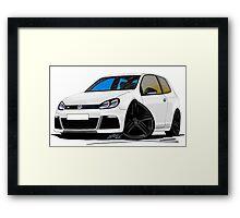 VW Golf R White (Black Wheels) Framed Print