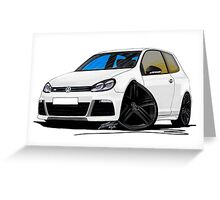 VW Golf R White (Black Wheels) Greeting Card