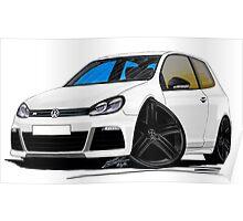 VW Golf R White (Black Wheels) Poster