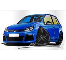 VW Golf R (5dr) Blue (Black Wheels) Poster