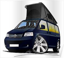 VW T5 California Camper Van Dark Blue Poster