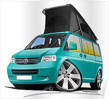 VW T5 California Camper Van Turquoise Poster