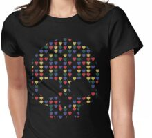 """All Heart"" Skull Hearts Bones Primary Colors Bright Red Blue Yellow Green  Womens Fitted T-Shirt"