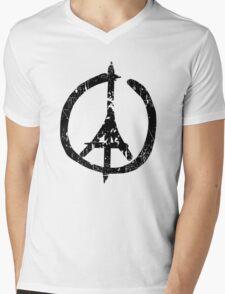 Pray For Paris Peace Sign Mens V-Neck T-Shirt