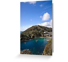 Polperro Harbour on a Peaceful Day Greeting Card
