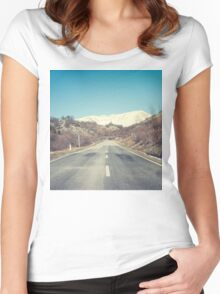 Road with mountain Women's Fitted Scoop T-Shirt
