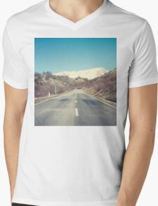 Road with mountain Mens V-Neck T-Shirt