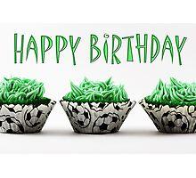 Happy Birthday Football Cupcakes Photographic Print