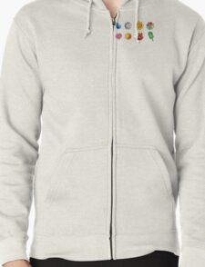 Pokemon Badges (Kanto Only) Zipped Hoodie