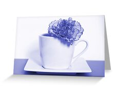 Carnation in Teacup, Blue Greeting Card