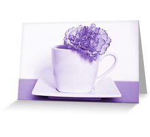 Carnation in Teacup, Purple Greeting Card