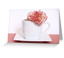 Carnation in Teacup, Peach Greeting Card