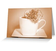 Carnation in Teacup, Sepia Greeting Card