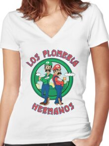 The Brother's Plumbing Women's Fitted V-Neck T-Shirt