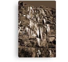 cascade of icicles on a cliff face in sepia Canvas Print