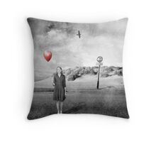 Girl With Red Balloon Throw Pillow