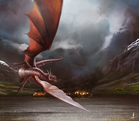 Smaug Burns Lake-Town by AndyFairhurst