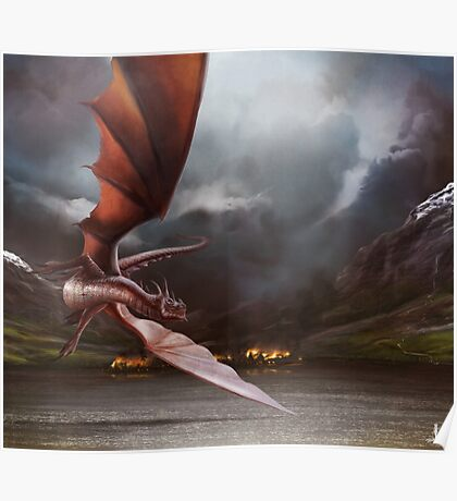 Smaug Burns Lake-Town Poster