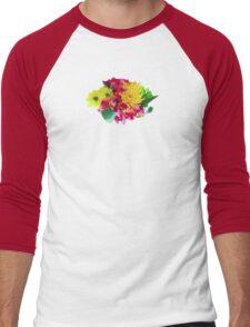 Yellow Mums and Pink Asiatic Lilies Men's Baseball ¾ T-Shirt