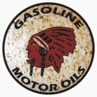 Red Indian Gasoline vintage sign reproduction rusted vers. by htrdesigns