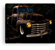 Chevy Hot Rat Rod Pickup Cowgirl's Last Stand  Canvas Print