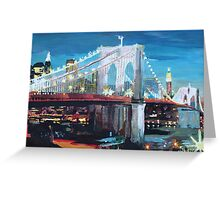 New York City - Manhattan Bridge at Night Greeting Card