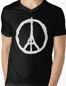 Paris Peace Symbol - Black Mens V-Neck T-Shirt